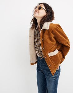 Women's Sherpa-Lined Corduroy Swing Chore Coat Grunge Outfits, Winter Outfits, Casual Outfits, Cute Outfits, Fashion Outfits, Queer Fashion, Hipster Fashion, Girly Outfits, Winter Clothes