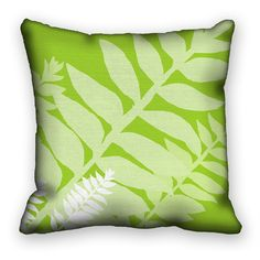 throw pillow cover modern leaves lime green and white unique pillow sham 18x18 ac058