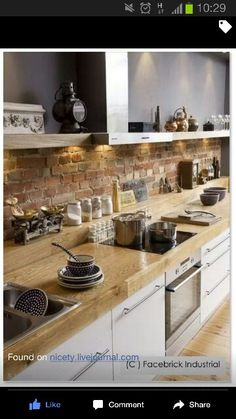 Interior Design: Awesome Brick Backsplash With Open Kitchen Shelving And Wooden Flooring Also Oven Stove For Modern Kitchen Design Ideas Rustic Kitchen, Kitchen Remodel, Kitchen Design, Kitchen Inspirations, Modern Kitchen, Stylish Kitchen, New Kitchen, Kitchen Interior, Brick Kitchen