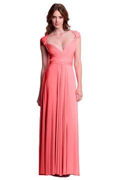 Sakura Convertible Long Gown - Peach-Pink Coral $158.00