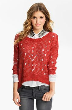 Chloe K Distress Knit Slouchy Sweater (Juniors) available at #Nordstrom