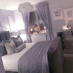 Cute Bedroom Ideas, Cute Room Decor, Room Ideas Bedroom, Home Decor Bedroom, Bedroom Ideas For Women, Bedroom Furniture, Silver Bedroom Decor, Purple Bedroom Decor, Grey Bedroom Design
