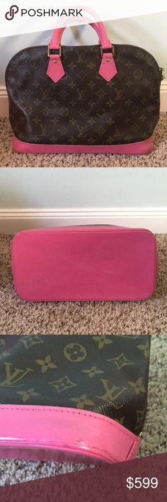 AUTH LV ALMA PM PINK Authentic Louis Vuitton Alma PM handbag recently restored with hot pink accent on leather. Monogram leather in excellent condition, no blemishes. No odors on the interior and has just a few small blemishes/ pen marks on the inside. Zipper is smooth and functional. Posh certifies authenticity over $500. Posh ambassador. Fast shipper. Reasonable offers accepted. DEG9326 Louis Vuitton Bags Satchels