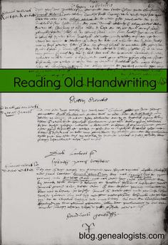Resources for reading old handwriting.