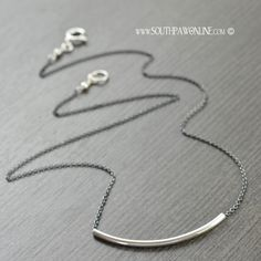 New // Modern Layering necklace blackened sterling silver chain and sterling sliding tube necklace