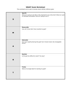 Smart Goals Worksheet  Smart Goals Template  Worksheets For Art