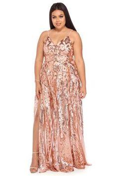 Plus Grace Rose Gold Princess Dress - Modern Plus Size Sequin Dresses, Plus Size Gowns, Blush Dresses, Girls Dresses, Long Dresses, Windsor Fashion, Bridesmaid Dresses Plus Size, Bridesmaids, Mom Dress