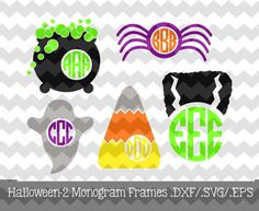 Halloween Monogram Frames-2 .dxf/.svg/.eps Files For Use With Your Silhouette…