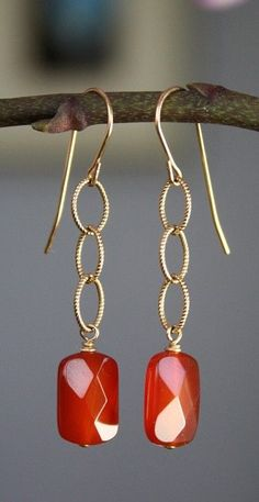 Carnelian and Gold Filled Earrings,