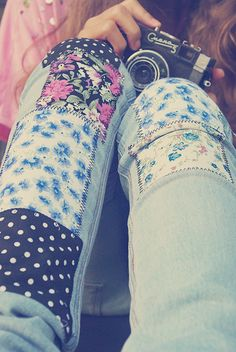 floral patchwork jeans. Makes me want to fix my old ones.