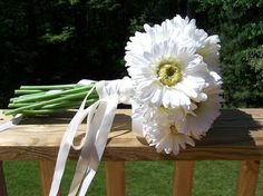 WHITE DAISY Gerbera Brides Wedding Bouquet by WeddingFlowerShop, $55.00