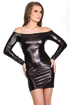 Kleid Coquette Darque wetlook schulterfrei Gr.XL