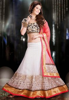 Off White Color Net and Santoon Lehenga Choli with Dupptta