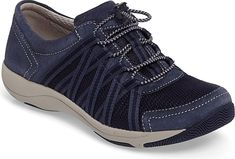 Dansko Women's Shoes in Blue Suede Color. A lightweight, flexible sneaker styled with elasticized lacing that makes it easy to slip on and off features a contoured, removable footbed with memory-foam cushioning that cradles your foot with every step.