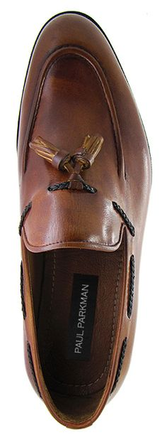 PAUL PARKMAN ® Men's Tassel Loafer - Hand Burnished Brown  Tobacco Leather Upper With Natural Leather Sole