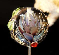 flower tab bead handmade glass bead SRA OOAK von CorneliaLentze, $28.00