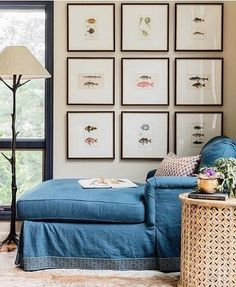 Lovely gallery wall chaise lounge and window
