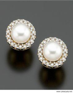 Pearls ringed with diamonds