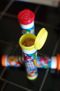 Individual M containers for each kid ~ full of pennies to throw in the fountains ~ Brilliant!
