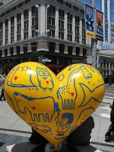 Yellow Heart at Union Square, San Francisco.