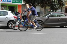 Cyclist couple near Tel Aviv port
