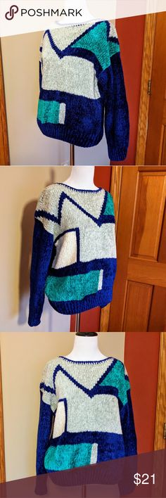 """Vintage blue green color blocks sweater Great color blocks design sweater, by Barbara M. Good vintage condition, no stains or tears. Measures 21"""" flat across under the armpits, 23"""" length. 100% acrylic, made in Taiwan. Fits like an Medium. Vintage Sweaters Crew & Scoop Necks"""