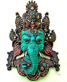 "15"" Tibetan Ganesha Wall Sculpture - Hindu God Ganesh Wall Decor Hanging Mask, Yoga Meditation Good Luck Wall Mount Clay Art CraftVatika http://www.amazon.com/dp/B00LDCU95U/ref=cm_sw_r_pi_dp_fYlhvb0935GCE"