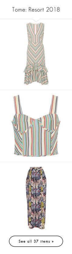 """Tome: Resort 2018"" by livnd ❤ liked on Polyvore featuring tome, livndfashion, livndtome, resort2018, dresses, stripe, v neckline dress, v neck dress, mermaid gown and striped sleeveless dress"