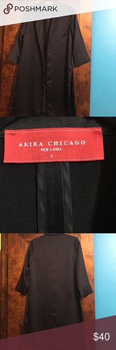 Blazer Long Black silky blazer. Has slits on the side. 3/4 length sleeves. Worn only once. Great condition! AKIRA Jackets & Coats Blazers