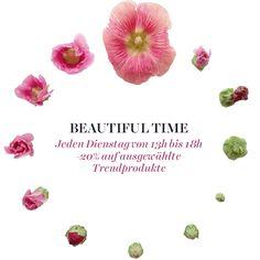 Beauties aufgepasst! Ab sofort schenken wir euch jeden Dienstag zwischen 13 und 18h 20% Rabatt auf ausgewählte Produkte! #HappyShopping #BeutifulTime