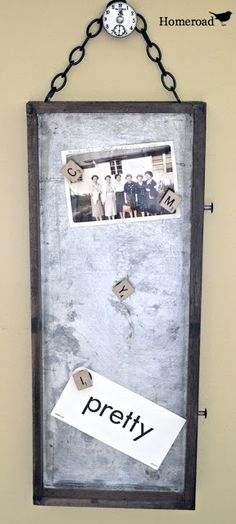 Save the drawers! Repurposed from an old tool box, this galvanized tray turned fabulous memo board!