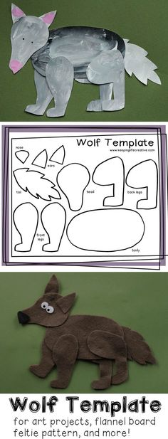 Wolf Craft for Kids FREE printable wolf template for art projects, flannel or bulletin board pattern, and much more!FREE printable wolf template for art projects, flannel or bulletin board pattern, and much more! Animal Crafts For Kids, Art For Kids, Animal Art Projects, Wolf Craft, Doodle Drawing, Bulletins, Little Pigs, Preschool Crafts, Kids Crafts