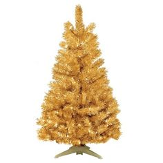 4 ft. Pre-Lit Gold Tinsel Christmas Tree-Clear Lights : Target
