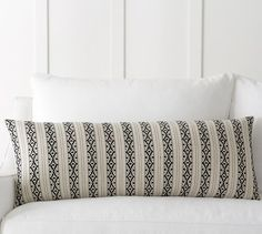 "Ariana Stripe Jacquard Pillow Cover | Pottery Barn - 14""x 36"" - $49.50 (less 20% is $39.60) - idea for Master Bed accent pillow - LOVE this!"