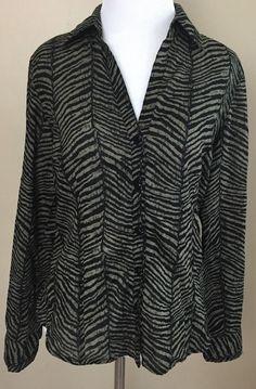 Michael MICHAEL KORS Black Cotton Zebra Design Button Down Shirt Size 6 P Petite #MichaelKors #ButtonDownShirt