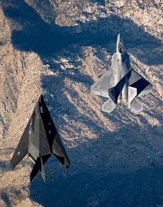 """blazepress: """" An F-22 Raptor and the F-117 Nighthawk flying side by side. """""""