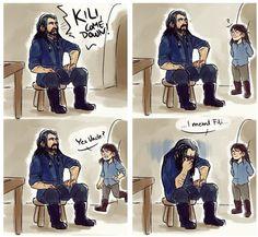 The Hobbit - Humor - Family - Thorin - Fili - Kili Hobbit Art, O Hobbit, Hobbit Funny, Legolas, Fili Et Kili, The Misty Mountains Cold, Concerning Hobbits, Bagginshield, Thorin Oakenshield