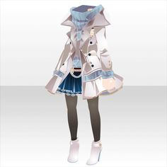 The outfit that Natsuki wears during her stay in the standard dimension Komplette Outfits, Anime Outfits, Cool Outfits, Manga Clothes, Drawing Clothes, Fashion Design Drawings, Fashion Sketches, Anime Dress, Character Outfits