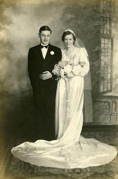 1940 Studio Wedding Photo of Bride Groom
