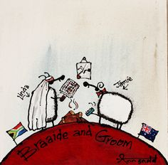 """""""Braaide and Groom."""" by Ann Gadd Kitchen Art, Wineries, Sheep, Ann, Groom, Snoopy, African, Paintings, My Favorite Things"""