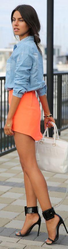 Denim Shirt, Orange Mini