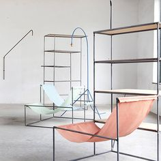 Muller Van Severen - Given that they are two artists, the collection sits somewhere between design and art. Retail Interior, Cafe Interior, Interior Design, Metal Furniture, Industrial Furniture, Furniture Design, Space Architecture, Diy Chair, Decoration