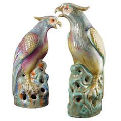 Pair of Chinese Export Famille Rose Models of Pheasants