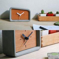 Merge concrete desk clock  #concrete #wood #design