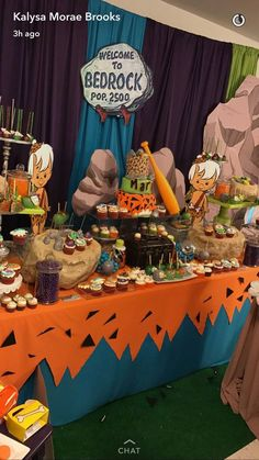 Flintstones Baby Shower Party Ideas «Muvy Photo 1 of 10 Boy Baby Shower Themes, Baby Shower Fun, Shower Party, Baby Shower Parties, Baby Shower Decorations, Baby Showers, Shower Centerpieces, Shower Favors, Baby Boy 1st Birthday Party