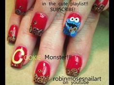 how to paint COOKIE MONSTER NAILS robin moses nail art design tutorial 652