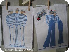 Cartes textiles imprimées et rebrodées, d'après un modèle Rue du Port.
