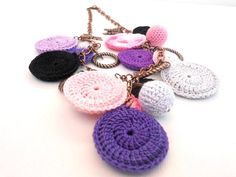 Items similar to Fantasy Crochet  Necklace in Purple- Fashion  Jewelry - Pink White Black Purple  - Gift for her on Etsy