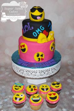 Emoji 13th Bday - Cake by Sugar Sweet Cakes