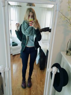 outfit today bbs! skinny jeans, doc martens, v-neck, urban outfitters scarf and jacket :-) casual because of 2 hour delay..yay